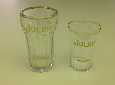 Two Different Julep Soda Glasses With Syrup Lines 1920's