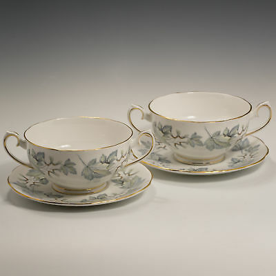 Royal Albert SILVER MAPLE 2 Bone China Cream SOUP Cups & Saucers 1st Quality