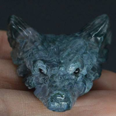 Howling Wolf Green Moss Agate Stone Animal Pendant Hand Carved Necklace Jewelry