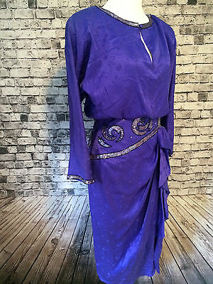 AJ Bari 90s 100% Silk Wedding Formal Mother Of The Bride Dress Purple Beaded 10