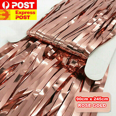 90x245cm Rose Gold Metallic Tinsel Curtain Foil Backdrop Party Wedding Birthday