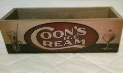 Vintage Coon's Ice Cream Wooden Box Container