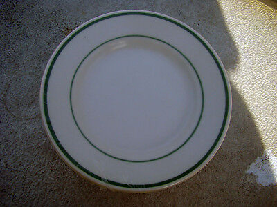 "6 Buffalo China 2 Green Stripes 9"" Plates New Unused Factory Sealed"
