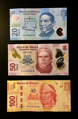MEXICO PESOS lot of three 20 , 50, and 100 dollar BANKNOTES mexico CURRENCY