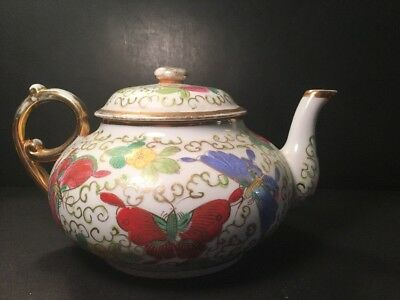 Antique Vintage Chinese Porcelain Teapot Butterflies signed