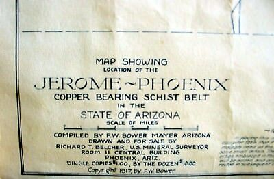 [ARIZONA] 1917 Map of JEROME-PHOENIX Copper bearing Schist Belt