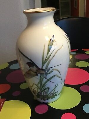 Franklin Porcelain, The Meadowland Bird Vase 1980 - Porzellan vergoldet