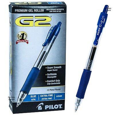 Pilot G2 05 Blue 31003, 0.5mm Extra Fine, Blue Gel Ink Rollerball Pen, Box of 12