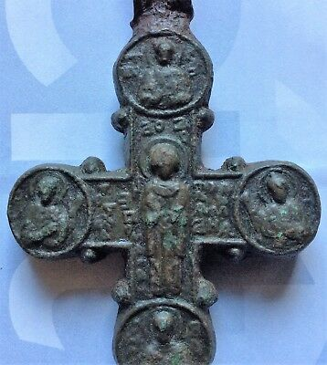 Bronze Byzantine Encolpion Cross Double Sided With Saints .