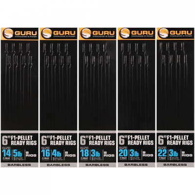 Guru 6 inch F1-Pellet Ready Rigs Size 22 Barbless