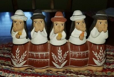 Peruvian Folk Art - Hand Painted Clay Whistle Flute  Five Gossiping Women