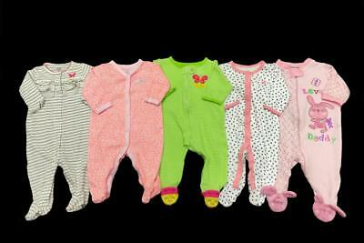 Baby Girl 3 months 3-6 Carter's cotton bunny Spring SLEEPER PAJAMA Clothes LOT