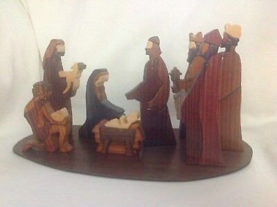 Hand carved And Signed Irish Wood Nativity Set, Pukane Crafts, Tipperary Island