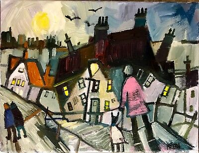 Large Original Oil  CANVAS painting by Fredi  'Whitby steps '