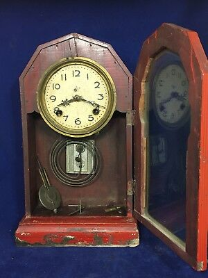 "Antique Rare Complete RED Kitchen Mantle Clock. For Restoration/Projects 17"" H"