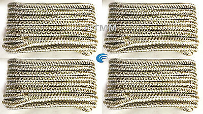 "(4) Gold/White Double Braided 3/8"" x 25' ft Boat Marine DOCK LINES Mooring Rope"