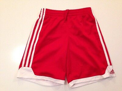 Adidas Boys Small ( 8 ) Athletic Shorts With Pockets, Polyester, Red/White