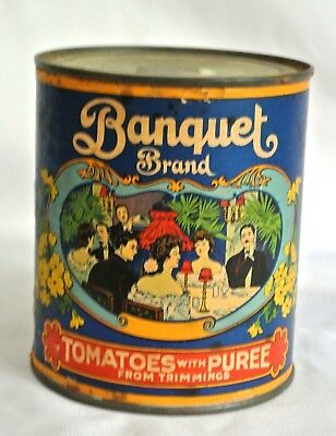 Vintage Collectible Banquet Brand Tomatoes Paper Label Tin Can San Francisco