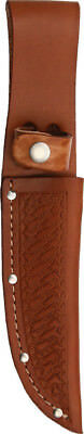 """Sheaths Straight Knife SH1134 Brown basketweave leather. Fits up to 5"""" blade."""