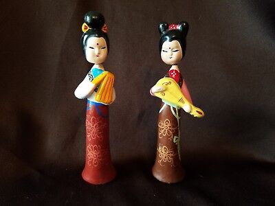2 China Doll Statue, Figurines, Wooden, Painted