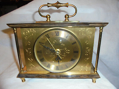 Vintage ''Bentima'' Onyx and Gilt brass glass fronted Mantle Clock.