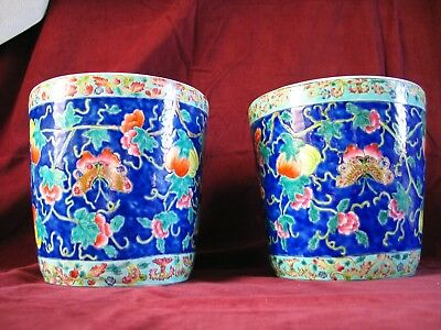 PAIR CHINESE PLANTERS Ceramic bright blue background fruit flowers butterflies