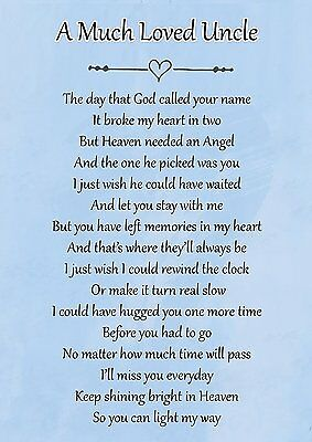 A Much Loved Uncle Memorial Graveside Poem Card & Free Ground Stake F108