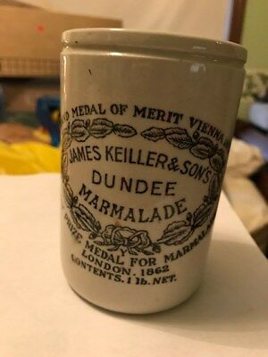 James Keiller Son Dundee Marmalade Ceramic 4-1/2 Pottery Jar Crock London 1862