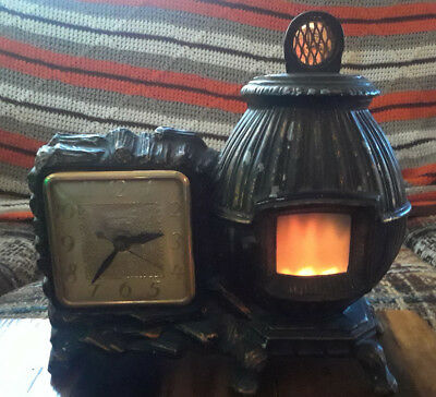 Vintage UNITED CLOCK CORP Potbelly Stove Motion Clock Model 465 from the 1940's