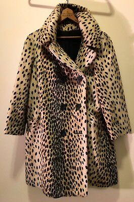 Vintage 50s 60s Faux Fur Coat Leopard Cheetah Exotic Animal Spotted Glam Retro