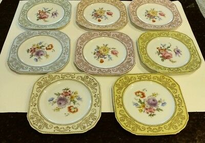 Vintage Puls Czechoslovakia Set of 8 Small Different Color Floral Plates