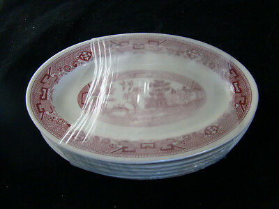 6 Buffalo China Red Willow Platters New Unused Factory Shrink Wrapped