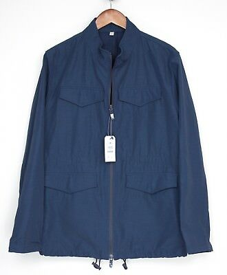 ca092380a HARDY AMIES MENS Field Jacket M Solid Navy Blue Zip Front 4 Pocket ...
