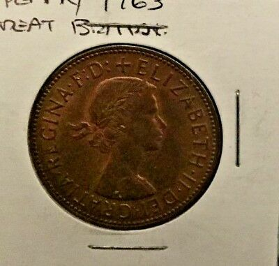 1963 British large penny Circulated, Free Shipping. 1 coin at this price