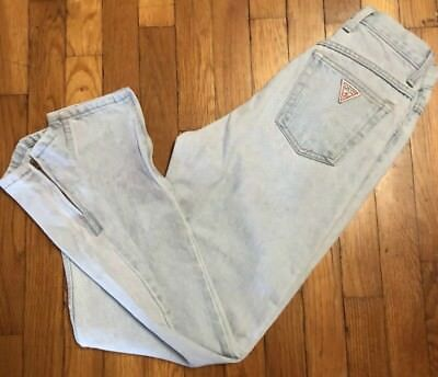Vintage 80's GUESS Jeans Zip Ankle High Waist Cropped Faded XS  sz 26 U.S.A. Mom