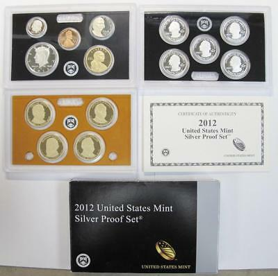 2012-S U.S. Silver Proof Mint Set * 90% Silver Half, Qtrs & Dime * 14 Piece Set