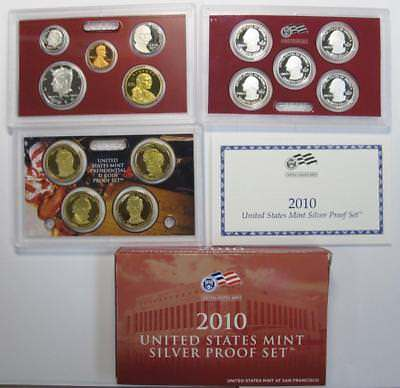 2010-S U.S. Silver Proof Mint Set * 90% Silver Half, Qtrs & Dime * 14 Piece Set