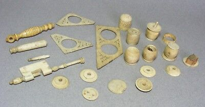 Lot of Vintage / Antique Cow Bone Sewing / Tool Items - Many As Is