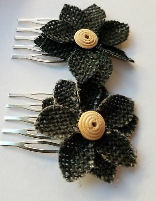 Set of Fabric Flower Combs
