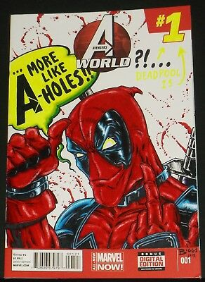 Original Art Comic Book Sketch Cover Deadpool Avengers By Jamie Biggs Blacklight