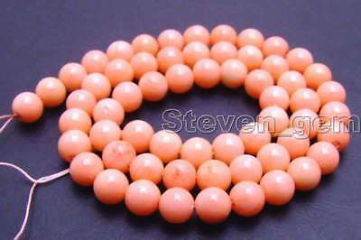 """SALE small 6-7mm round Pink natural Coral loose beads strand 15""""-los380"""