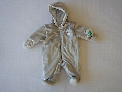 Carters Child of Mine Infant Baby Grey Boys Fleece Pram Snowsuit One Piece
