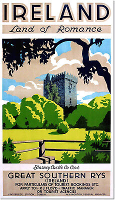 Ireland Blarney Castle Great Southern Railway Vintage Travel Poster Reproduction