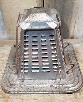 Antique Cook Stove Toaster Rack Old Vintage Cabin Decor Camp Fire 4 Slice Tin