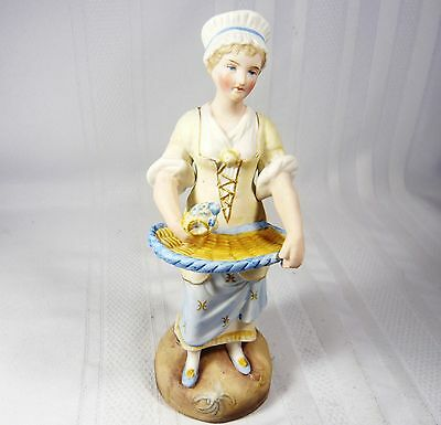 Antique HEUBACH Continental Figurine Bisque German PORCELAIN  Flower GIRL 8 inch