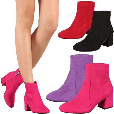 New Women Round Toe Ankle Booties Short Boot Shoes Block Chunky Med Low Heel Zip