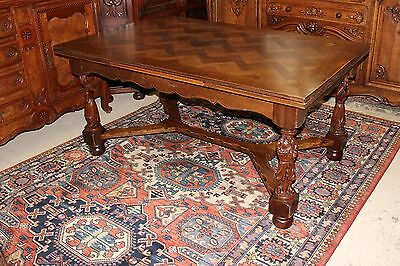 Antique French Oak Brittany Draw Folding Leaf Drop Dining Room Narrow Table