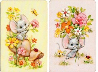 Playing cards swap card single vintage mice mouse 1970's