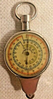 Vintage Rare German Compass Opisometer Inches To Miles Gauge With Leather Case