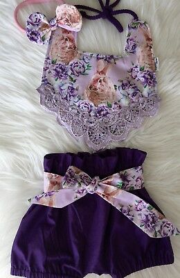 Baby Boho Bib and High Waisted bloomers bunny in purple by Tractors & Fairies